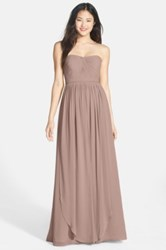 Jenny Yoo Collection 'Aidan' Convertible Strapless Chiffon Gown Plus Size Beige