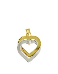 Lord And Taylor 14 Kt. Two Tone Gold Double Heart Pendant Necklace