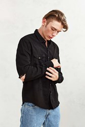 Cpo Overdyed Damaged Denim Western Shirt Black