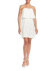 Aidan Mattox Strapless Popover Crochet Dress Ivory
