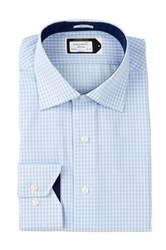 Lorenzo Uomo Long Sleeve Trim Fit Mini Check Wrinkle Free Dress Shirt Blue
