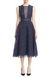 Lela Rose Women's Dotted Organza Fit And Flare Midi Dress