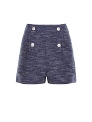 Balenciaga Silk Dupion Tweed Melange Sailor Bttn Detail Short