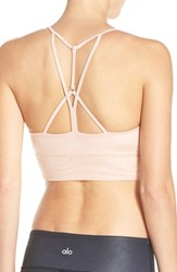 Alo Yoga Women's Alo 'Lush' Strappy Back Sports Bra Shell Glossy Shell