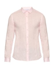 Orlebar Brown Morton Long Sleeved Linen Tailored Shirt Pink