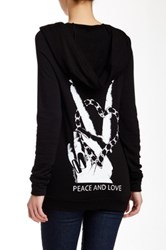 Lauren Moshi Layla Peace And Love Zip Up Hoodie Black