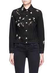 Alexander Mcqueen 'Surreal Obsessions' Embellished Denim Jacket Black