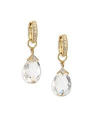 Jude Frances Lisse White Topaz And 18K Yellow Gold Pear Briolette Earring Charms