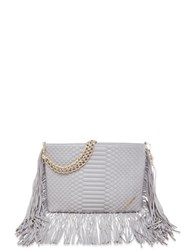Brian Atwood Nepal Embossed Leather Bag Grey