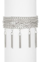14Th And Union 5 Layer Curved Tassel Bracelet Metallic