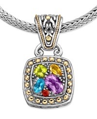 Effy Collection Balissima By Effy Multistone Square Pendant 1 5 8 Ct. T.W. In 18K Gold And Sterling Silver