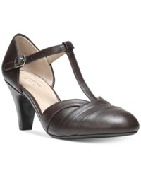 Naturalizer Lackey T Strap Pumps Women's Shoes Black Cordovan Grey