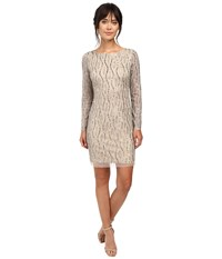 Adrianna Papell Long Sleeve Beaded Cocktail Dress Silver Nude Women's Dress