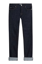 Kenzo Slim Jeans With Cuffed Ankles Blue