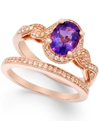 Macy's Amethyst 1 Ct. T.W. And White Topaz Accent Ring Set In Rose Gold Tone Vermeil
