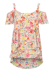 Jane Norman Ruffle Off The Shoulder Top Multi Coloured