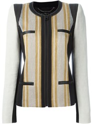 Barbara Bui Panelled Zip Jacket Nude And Neutrals