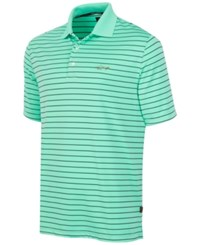 Greg Norman For Tasso Elba 5 Iron Performance Striped Golf Polo Bermuda Mint
