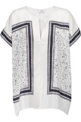 Vince Printed Silk Twill Blouse Off White