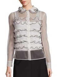 Red Valentino Sheer Ruffle Blouse Ivory Black
