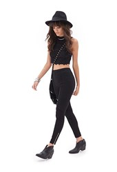 Forever 21 Zippered Skinny Pants Black