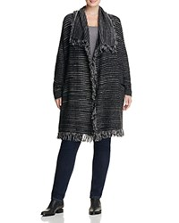 Nydj Plus Striped Fringe Wool Coat Black