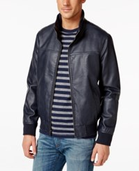 Tommy Hilfiger Faux Leather Stand Collar Bomber Jacket
