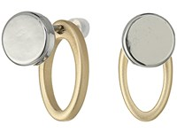 French Connection Small Flat Stud Earrings With Oval Link Jacket Silver Matte Gold Earring