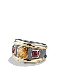 David Yurman Renaissance Ring With Citrine Rhodalite Garnet And 14K Gold Orange Black