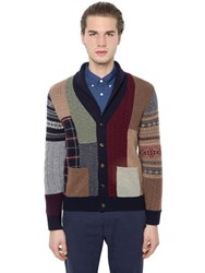 Brooks Brothers Patchwork Wool Cardigan Knit Sweater
