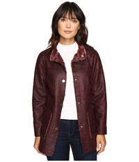 Dylan By True Grit Easy Rider Vintage Faux Leather Reversible Coat W Snap Closure And Pockets Claret Women's Coat Red