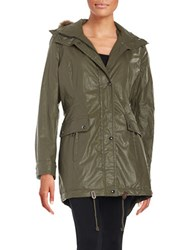 Calvin Klein Faux Fur Trimmed Raincoat Olive