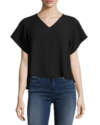 Romeo And Juliet Couture V Neck High Low Boxy Tee Black