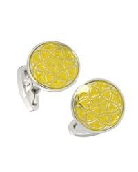 Jan Leslie Florentine Enamel Cuff Links Yellow