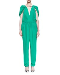 Lanvin Chain Threaded Gathered Jumpsuit Mint Green