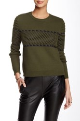 Romeo And Juliet Couture Cropped Crew Neck Sweater Green