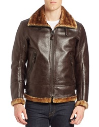 Andrew Marc New York Faux Fur Trimmed Faux Leather Pilot Jacket Dark Brown