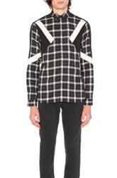 Neil Barrett Retro Modernist Shirt In Black Checkered And Plaid Black Checkered And Plaid