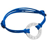 Merci Maman Sterling Silver Personalised Eternity Bracelet Silver Royal Blue