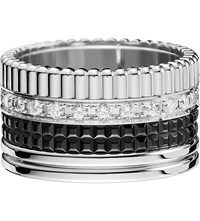 Boucheron Quatre 18Ct White Gold With Pave Round Diamonds And Pvd Ring