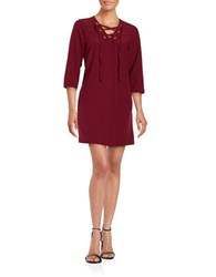 Kensie Waffle Patterned Lace Up Shift Dress Red