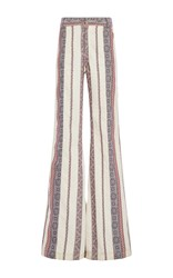 Derek Lam 10 Crosby Cotton Linen Patterned Flared Pants Multi
