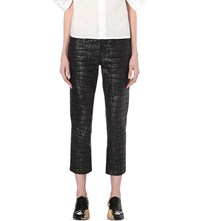 Junya Watanabe Crocodile Embossed Coated Cotton Trousers Black
