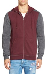 The Rail Trim Fit Colorblock Full Zip Hoodie Burgundy Charcoal Heather