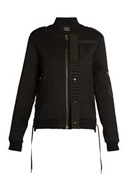 Anthony Vaccarello Lace Detail Wool Bomber Jacket Black
