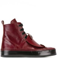 Ann Demeulemeester Patch Detail Hi Top Sneakers Red