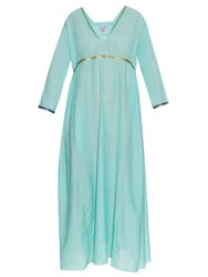 Thierry Colson Pakeza Silk And Cotton Blend Maxi Dress Mint