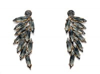 Fiorelli Costume Gold And Grey Acrylic Leaf Cluster Earrings