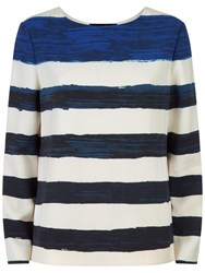 Jaeger Painted Stripe Top Ivory Blue