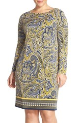 Plus Size Women's Michael Michael Kors 'Ashbury' Paisley Border Print Shift Dress Sunflower New Navy